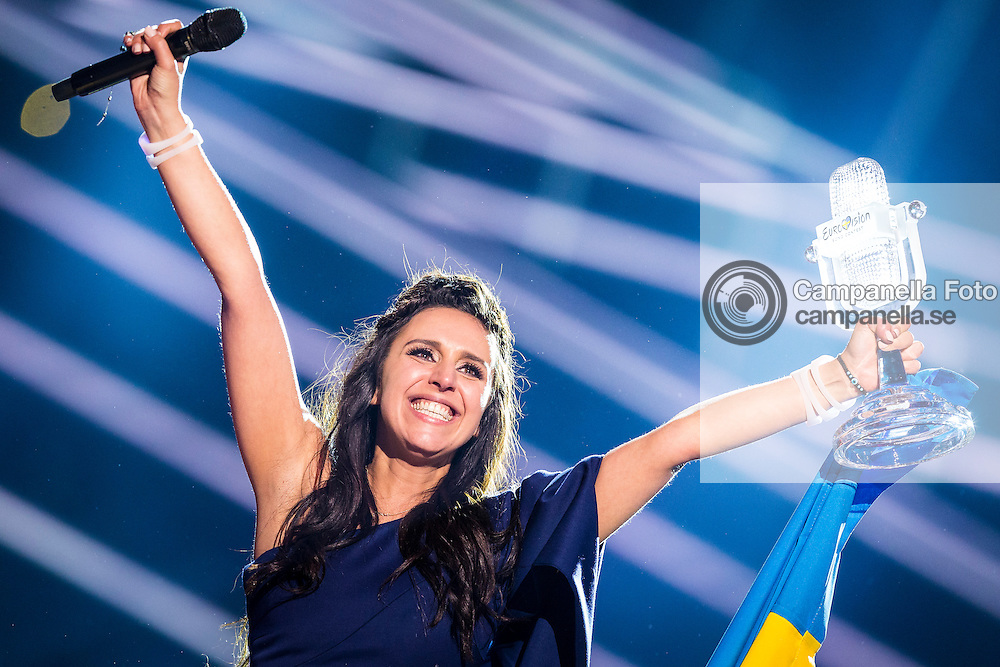 STOCKHOLM, SWEDEN - MAY 14:  Jamala representing Ukraine wins the 2016 Eurovision Song Contest at Ericsson Globe Arena on May 14, 2016 in Stockholm, Sweden. (Photo by Michael Campanella/Getty Images) *** Local Caption ***