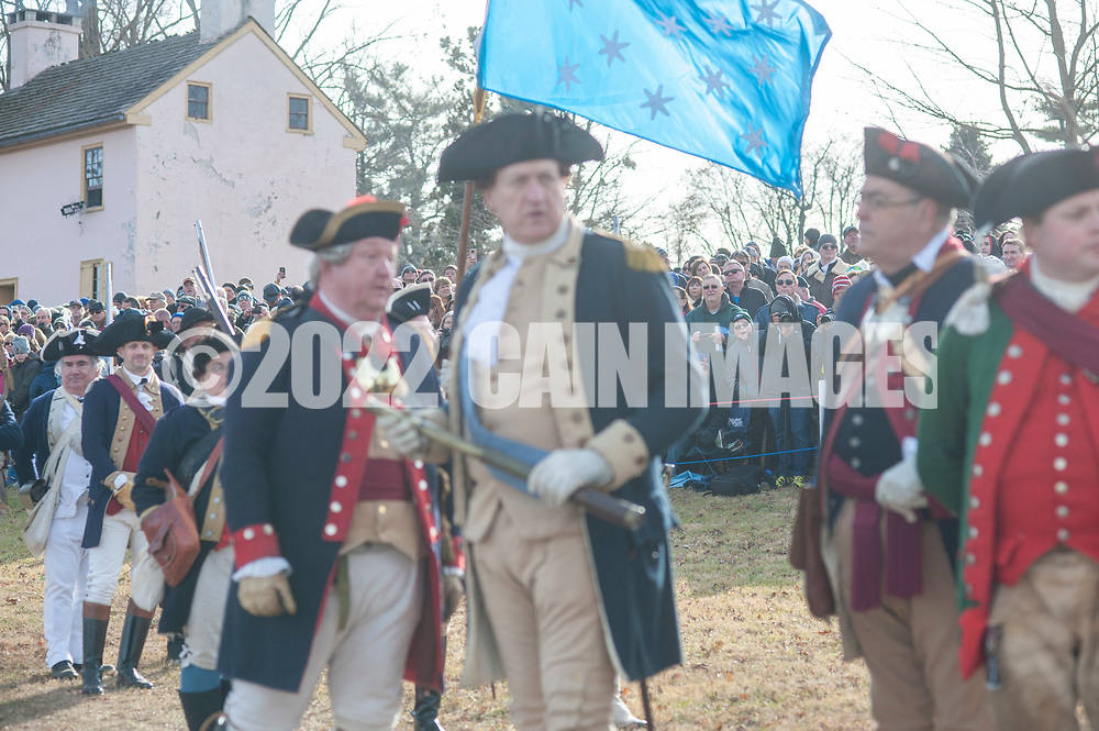 Spectators watch as General George Washington, portrayed by John Godzieba, Langhorne Police Chief leads his troops as the go to cross the Delaware River during the dress rehearsal for Washington Crossing the Delaware  Sunday, December 08, 2019 at Washington Crossing State Park in Washington Crossing, Pennsylvania. The actual re-enactment takes place on Christmas Day, December 25, 2019.  (Photo by William Thomas Cain/CAIN IMAGES)