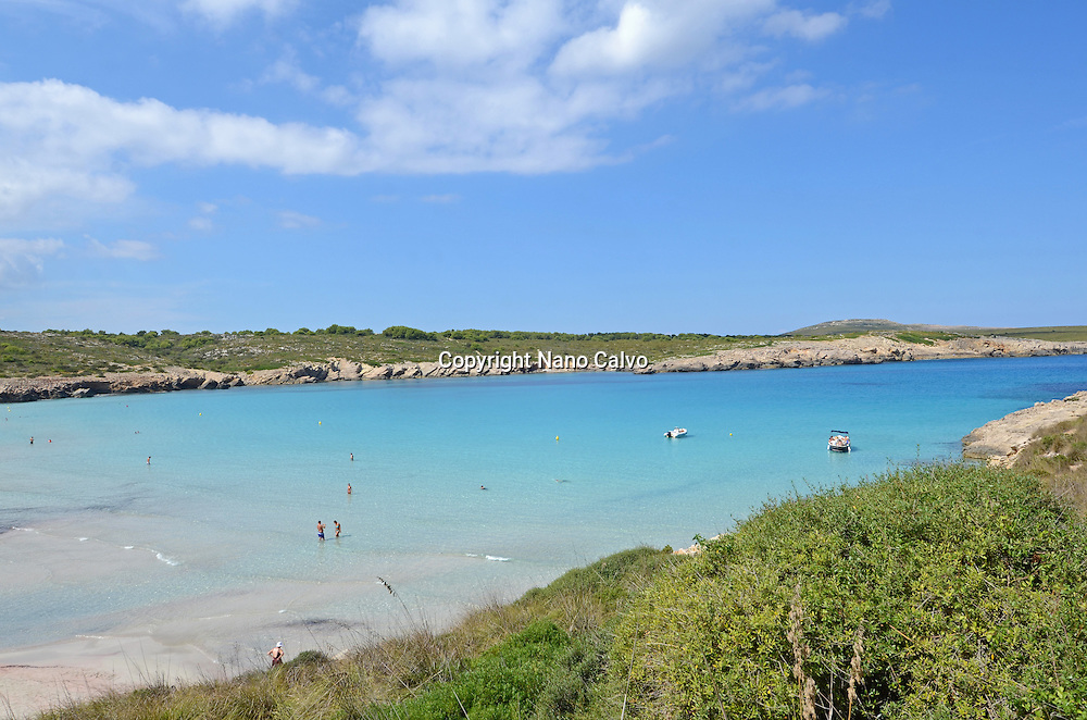 Blue waters at Son Parc beach, Menorca