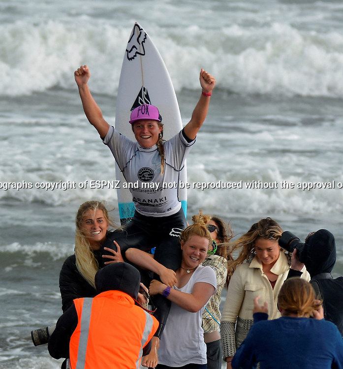 Winner Keely Andrew ( Aust) being carried triumphant up the beach in the PORT TARANAKI PRO WSL WOMENS 6 star Qualifying series Featuring the worlds highest ranked surfers including many of the World Tours top 17.<br /> This is stop number three of the 2015 WSL Women's 6-Star Qualifying Series competitions where the best in the world battle it out, gaining points towards securing one of six coveted spaces on the WSL World Championship Tour for the following year.<br />  <br /> Photo John Velvin/ESPNZ