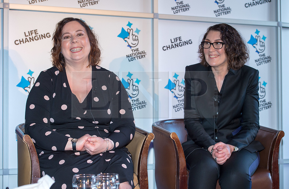 © Licensed to London News Pictures. 20/02/2018. Tortworth Court, Wotton-under-Edge, Gloucestershire, UK. Family of six win £18.1m on Lotto. The BANFIELD family, left-right: daughter Karen, age 51; daughter Tina age 54. A family syndicate from Bristol are celebrating after their Lucky Dip ticket matched all six numbers to scoop the £18,139,352 Lotto Jackpot last Saturday. The win, which mum and dad had always told their two daughters was just a matter of time, will mean travel to international sporting fixtures, new cars and a stress-free future for them all. Photo credit: Simon Chapman/LNP