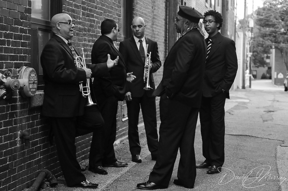 "Performers from AfroCuban All Stars before show behind Music Hall. L to R: Adalberto ""Trompetica"" Lara, Jose ""Pepito"" Espinosa, Yaure Muniz, Juan do Marcos (Leader, in hat), and Yoanny Pino"