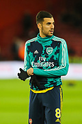 Arsenal midfielder Dani Ceballos (8) during the warm up ahead of the Premier League match between Sheffield United and Arsenal at Bramall Lane, Sheffield, England on 21 October 2019.