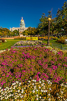Center Park with Colorado State Capitol Bldg. behind, Downtown Denver, Colorado USA.