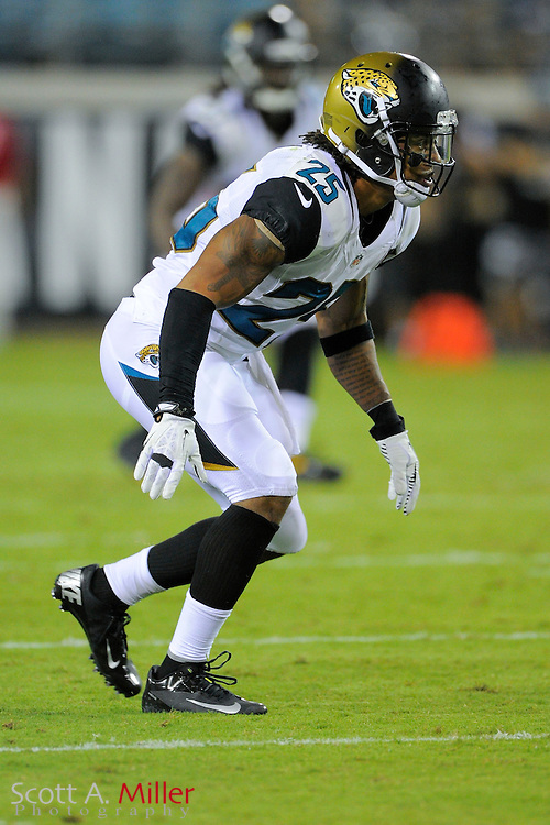 Jacksonville Jaguars free safety Dwight Lowery (25) during a preseason NFL game against the Philadelphia Eagles at EverBank Field on Aug. 24, 2013 in Jacksonville, Florida. The Eagles won 31-24.<br /> <br /> &copy;2013 Scott A. Miller
