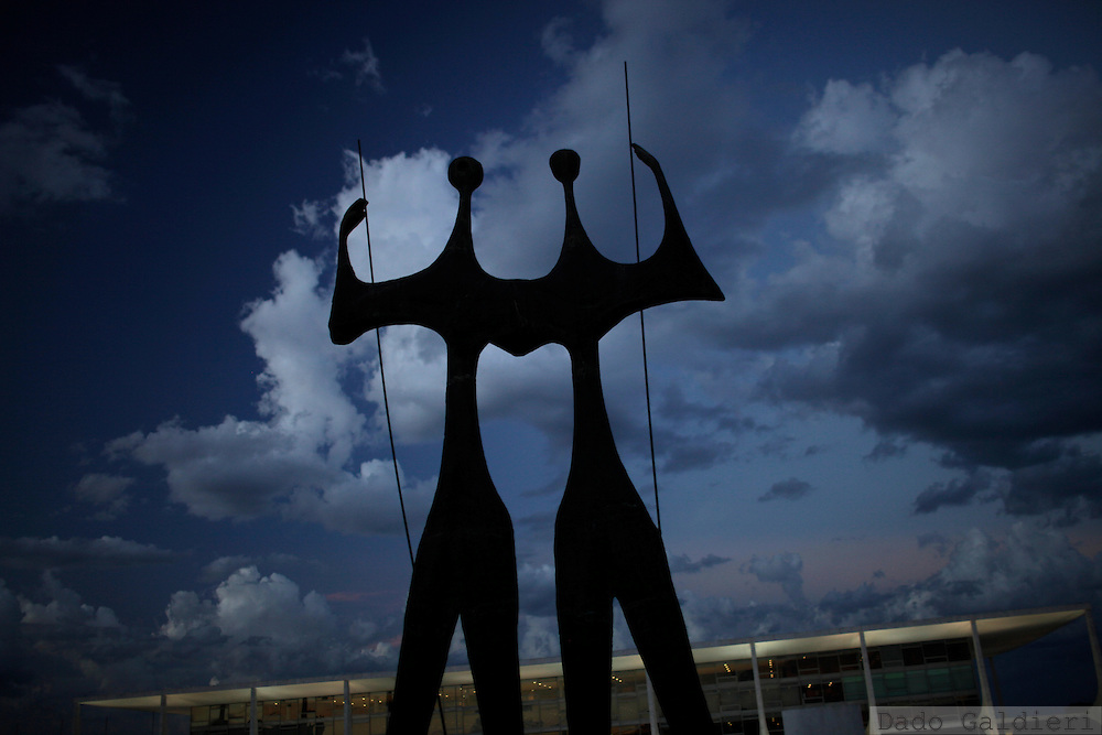 A sculpture named Candangos, in homage to the thousands of workers that built Brazil's capital during the 50's in Brasilia, Wednesday, Feb.8, 2012.(Photo Dado Galdieri)