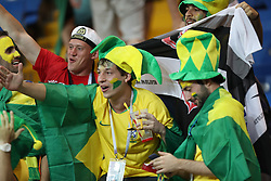 ROSTOV-ON-DON, June 17, 2018  Fans of Brazil react after a group E match between Brazil and Switzerland at the 2018 FIFA World Cup in Rostov-on-Don, Russia, June 17, 2018. The match ended in a 1-1 draw. (Credit Image: © Lu Jinbo/Xinhua via ZUMA Wire)