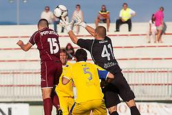 Poplatnik Matej of NK Triglav & Zec Darko and Vidmar Nejc of NK Domzale during football match between NK Triglav Kranj and NK Domzale, 5th Round of Prva Liga, on 12 August, 2012, in Sportni center, Kranj, Slovenia. (Photo by Grega Valancic / Sportida)