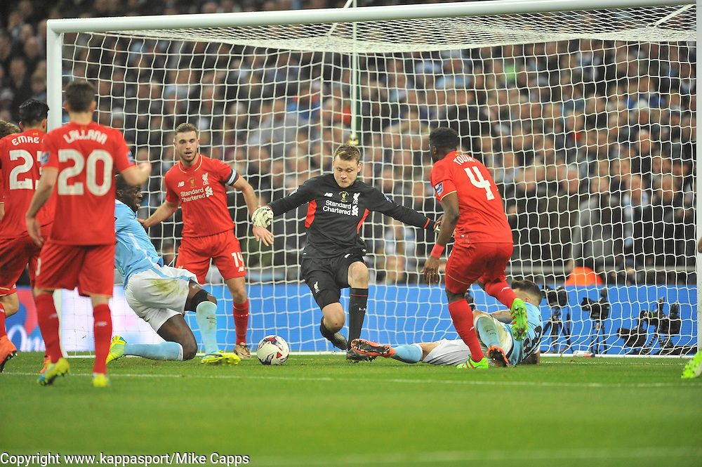 LIVERPOOL KEEPER SIMON MIGNOLET DENIES MANCHESTER CITYS YAYA TOURE SHOT ON TARGET, Liverpool FC v Manchester City FC Capital One Cup Final, Wembley Stadium, Sunday 28th Febuary 2016