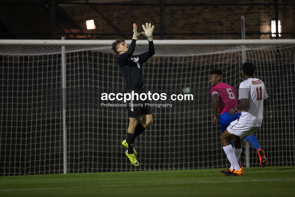 2015 October 30: Mitch Kupstas #0 of the due Blue Devils during a 2-1 win over the Virginia Tech Hokies at Koskinen Stadium in Durham, NC.