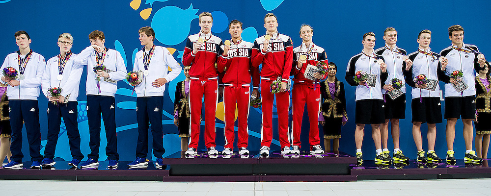 Podium<br /> 4X200 Relay Freestyle Men Final Swimming Gold Medal<br /> 1st European Olympic Games <br /> Baku Azerbaijan 12-28/08/2015<br /> Photo Andrea Masini/Deepbluemedia/Insidefoto