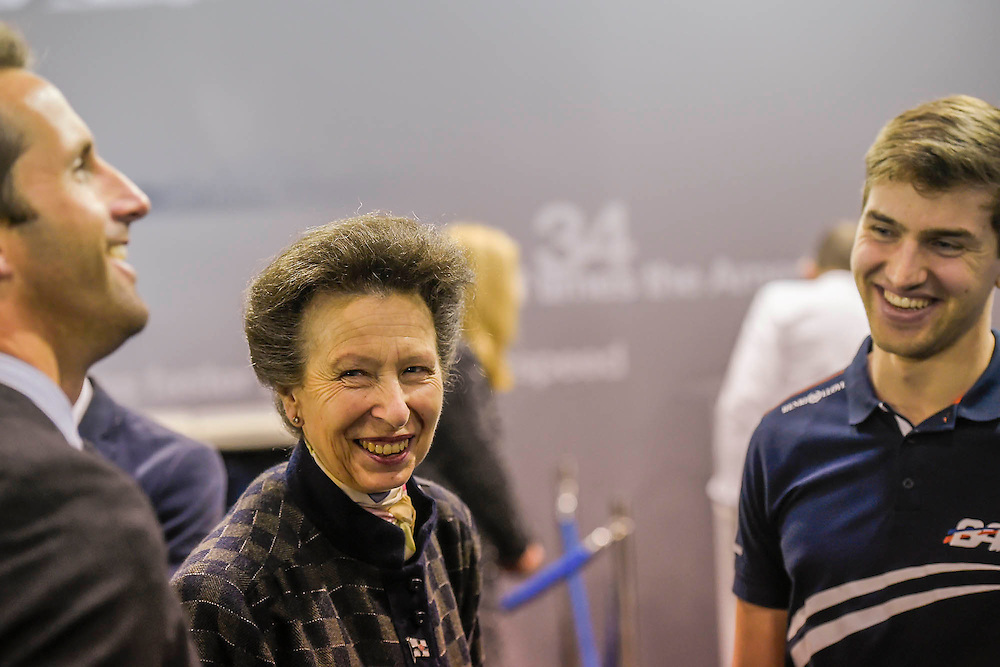 HRH Princess Anne attend the show with her husband.  They make a tour of the show which includes awarding the Yachtmaster of the Year award, on the RYA stand, as well as meeting Sir Ben Ainslie, on his BAR stand  (pictured). The CWM FX London Boat Show, taking place 09-18 January 2015 at the ExCel Centre, Docklands, London. 09 Jan 2015.