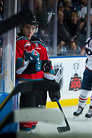 KELOWNA, CANADA - OCTOBER 27: Dillon Dube #19 of the Kelowna Rockets celebrates a first period goal against the Tri-City Americans on October 27, 2017 at Prospera Place in Kelowna, British Columbia, Canada.  (Photo by Marissa Baecker/Shoot the Breeze)  *** Local Caption ***