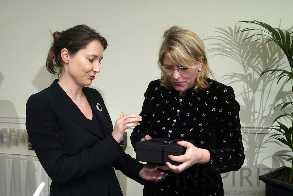 BRUSSELS - BELGIUM - 21 FEBRUARY 2006 -- EU-Representation Office of Carinthia holding a Impulsreferat BM MAG. Karin GASTINGER (R) and Martina RATTINGER (L), head of Carinthia Office.. PHOTO: ERIK LUNTANG /