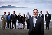 Auckland supercity mayoral candidate John Banks with his team.