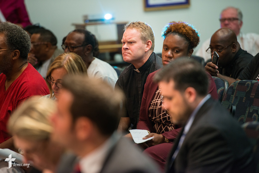 The Rev. Peter M. Burfeind, new domestic missionary and campus pastor at the University of Toledo, listens during a Toledo-Lucas County Plan Commission meeting on Thursday, July 9, 2015, in Toledo, Ohio. LCMS Communications/Erik M. Lunsford