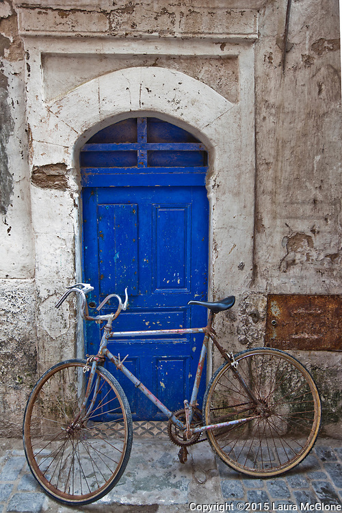 Moroccan Doorway with 10-speed Bicycle, Essaouira Morocco