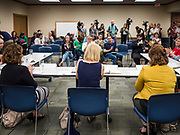 """24 MAY 2019 - WEST DES MOINES, IOWA: US Senator KIRSTEN GILLIBRAND (D-NY), center, chairs a community forum in the West Des Moines Public Library. Gillibrand unveiled her """"Family Bill of Rights"""" during a forum in West Des Moines. The New York Senator has made family health and rights a centerpiece of her campaign. She is touring Iowa this week to support her candidacy to be the Democratic nominee for the US Presidency. Iowa traditionally hosts the the first selection event of the presidential election cycle. The Iowa Caucuses will be on Feb. 3, 2020.           PHOTO BY JACK KURTZ"""