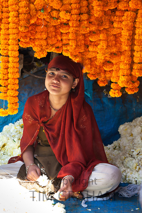 Young Indian girl stringing marigolds in ceremonial Brahmin garlands at Mehrauli Flower Market, New Delhi, India