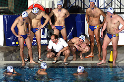 Coach of Koper Marino Cetin and his players at water polo match Rokava Koper, Slovenia vs ASV Wien, Austria in  quarterfinal of International water polo Alpe Adria league in Kranj, Slovenia, on March 7, 2008.  (Photo by: Vid Ponikvar / Sportal Images)/ Sportida)
