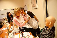 .Paris, France..Model released...Makeup and beauty class for women who have lost their hair following chemotherapy..Hospital St. Louis, a Public Assistance hospital in Paris.
