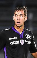 Hugo Aine - 11.09.2015 - Nimes / Ajaccio - 6eme journee de Ligue 2<br /> Photo : Alexandre Dimou / Icon Sport
