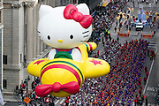 A Hello Kitty float goes down 6th Avenue for the 89th annual Macy's Thanksgiving Day Parade as seen from above street level on Thursday, Nov. 26, 2015, in New York. (Photo by Ben Hider/Invision/AP)