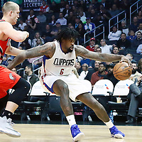12 December 2016: Portland Trail Blazers center Mason Plumlee (24) defends on LA Clippers center DeAndre Jordan (6) during the LA Clippers 121-120 victory over the Portland Trail Blazers, at the Staples Center, Los Angeles, California, USA.