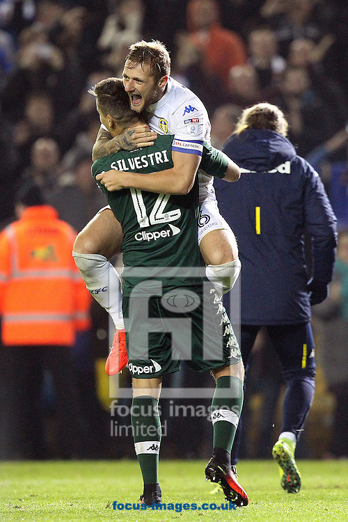 Liam Cooper of Leeds United and Marco Silvestri of Leeds United celebrate victory at the end of the EFL Cup match at Elland Road, Leeds<br /> Picture by Paul Chesterton/Focus Images Ltd +44 7904 640267<br /> 25/10/2016