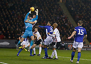 Sheffield Wednesday goalkeeper Cameron Dawson (25) catches a cross during the EFL Sky Bet Championship match between Sheffield United and Sheffield Wednesday at Bramall Lane, Sheffield, England on 9 November 2018.