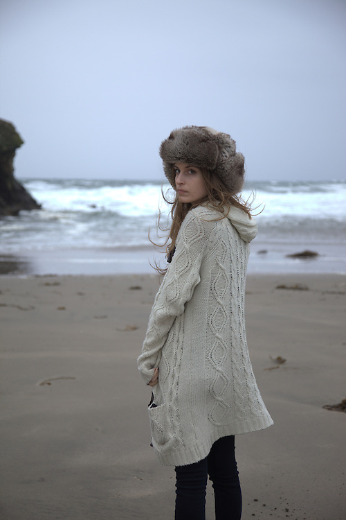 Isabel wearing faux fur hat at Natural Bridges, Santa Cruz, CA.