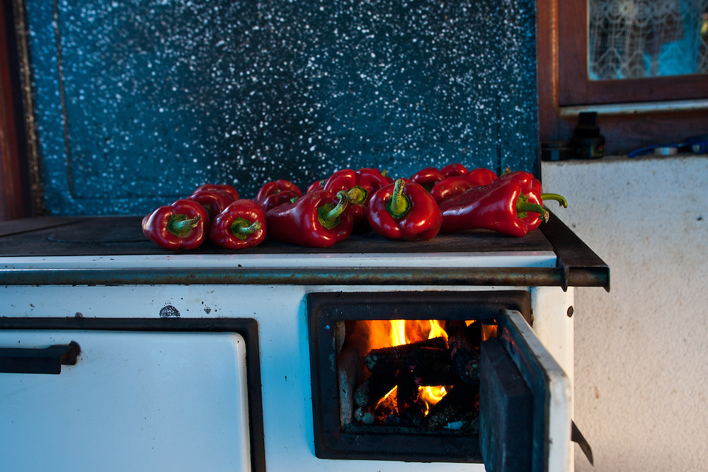 Roasting peppers for ajvar, Rabrovac, Serbia,