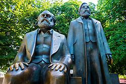 Bronze Statues of Karl Marx and Friedrich Engels at Alexanderplatz in Berlin German