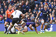 Pete Horne scrambles forward during the 2018 Autumn Test match between Scotland and Fiji at Murrayfield, Edinburgh, Scotland on 10 November 2018.