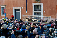 Rome, Italy. 5th Febraury 2016<br /> The relic of St. Pio of Pietrelcina in procession from the Church of San Salvatore in Lauro to go to the Vatican. The St. Pio of Pietrelcina were called to Rome by Pope Francis as symbol of the Mercy Jubilee.St. Pio of Pietrelcina were called to Rome by Pope Francis as symbol of the Mercy Jubilee.