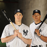 March 12, 2010 -- Tampa, FL, U.S.A..NY Yankees Alex Rodriguez and Mark Teixeira pose for portraits inside Legends Field. . --.Photo by Preston C. Mack.
