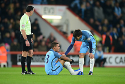 Gabriel Jesus of Manchester City goes down with an injury David Silva of Manchester City checks on him. - Mandatory by-line: Alex James/JMP - 13/02/2017 - FOOTBALL - Vitality Stadium - Bournemouth, England - Bournemouth v Manchester City - Premier League