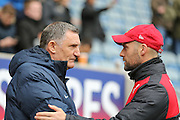 Coventry City Manager Tony Mowbray and Swindon Town manager Luke Williams  during the Sky Bet League 1 match between Coventry City and Swindon Town at the Ricoh Arena, Coventry, England on 19 March 2016. Photo by Simon Davies.