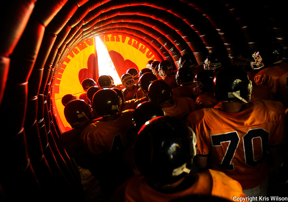 The Sullivan Central Cougars wait in their inflatable tunnel to take the field prior to their non-conference matchup against Virginia High in Blountville on Friday.