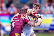 Bradford Bulls hooker Sam Hallas (29) takes one in the face from Batley Bulldogs Shaun Ainscough (5)  during the Kingstone Press Championship match between Batley Bulldogs and Bradford Bulls at the Fox's Biscuits Stadium, Batley, United Kingdom on 16 July 2017. Photo by Simon Davies.
