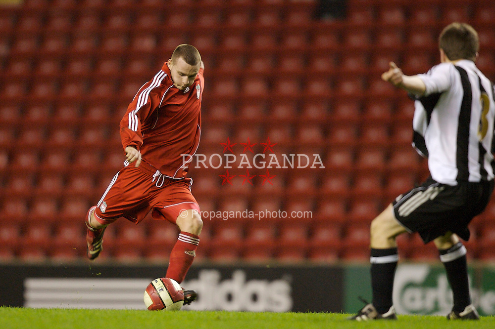 Liverpool, England - Monday, March 3, 2007: Liverpool's Jimmy Ryan scores the third goal against Newcastle United during the FA Youth Cup Semi-Final 2nd Leg at Anfield. (Pic by David Rawcliffe/Propaganda)