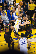 Golden State Warriors guard Patrick McCaw (0) lays the ball into the basket against the Cleveland Cavaliers during Game 1 of the NBA Finals at Oracle Arena in Oakland, Calif., on May 31, 2018. (Stan Olszewski/Special to S.F. Examiner)