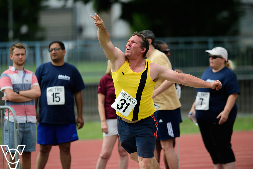 Metro Blind Sport's 2017 Athletics Open held at Mile End Stadium.  Shot put.  Jonathan Ward<br /> <br /> Picture: Chris Vaughan Photography for Metro Blind Sport<br /> Date: June 17, 2017