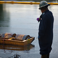 "Oil worker manages ""skimmer"" to clean up oil spill in Liberty Park, Salt Lake City"
