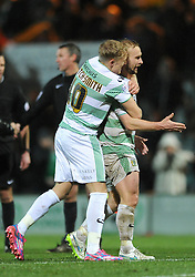 Yeovil Town's Simon Gillett celebrates at the final whistle with Yeovil Town's AJ Leitch-Smith - Photo mandatory by-line: Dougie Allward/JMP - Mobile: 07966 386802 - 16/12/2014 - SPORT - football - Yeovil - Huish Park - Yeovil Town v Accrington Stanley - FA Cup