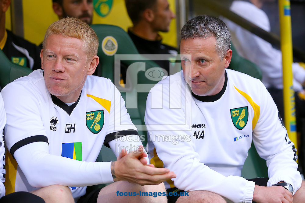 Manager of Norwich City, Neil Adams (right) and First team coach of Norwich City, Gary Holt (left) during the pre season friendly match at Carrow Road, Norwich<br /> Picture by Richard Calver/Focus Images Ltd +447792 981244<br /> 28/07/2014