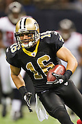 NEW ORLEANS, LA - DECEMBER 26:   Lance Moore #16 of the New Orleans Saints runs the ball after catching a pass against the Atlanta Falcons at Mercedes-Benz Superdome on December 26, 2011 in New Orleans, Louisiana.  The Saints defeated the Falcons 45-16.  (Photo by Wesley Hitt/Getty Images) *** Local Caption *** Lance Moore