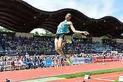 Pierce LePage (CAN) jumps a wind-aided 25-10 (7.78m) in the long jump during the decathlon at the DecaStar meeting, Friday, June 22, 2019, in Talence, France. Piece won with 8, 453 points. (Jiro Mochizuki/Image of Sport)