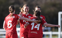 Bristol City players celebrate Jodie Brett's goal against QPR Ladies - Mandatory by-line: Paul Knight/JMP - Mobile: 07966 386802 - 14/02/2016 -  FOOTBALL - Stoke Gifford Stadium - Bristol, England -  Bristol Academy Women v QPR Ladies - FA Cup third round