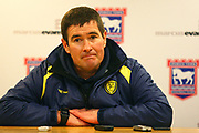 Burton Albion's manager Nigel Clough gives a post match interview during the EFL Sky Bet Championship match between Ipswich Town and Burton Albion at Portman Road, Ipswich, England on 10 February 2018. Picture by John Potts.